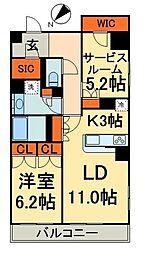 レジディア日本橋馬喰町 3階1SLDKの間取り