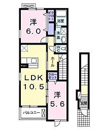 南海高野線 北野田駅 4.2kmの賃貸アパート 2階2LDKの間取り