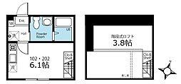 ハーミットクラブハウス横濱三ツ沢 1階ワンルームの間取り