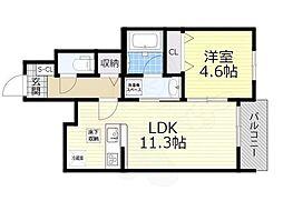 阪急京都本線 摂津市駅 徒歩7分の賃貸アパート 1階1LDKの間取り