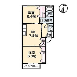 広島県福山市山手町4丁目の賃貸アパートの間取り