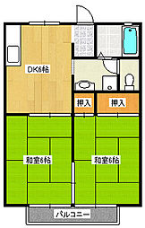 福岡県北九州市八幡西区沖田5丁目の賃貸アパートの間取り
