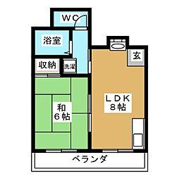 上原マンション1[6階]の間取り