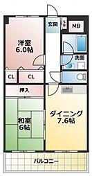 イーストヒル長田[6階]の間取り
