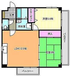 クレスト東田辺[5階]の間取り