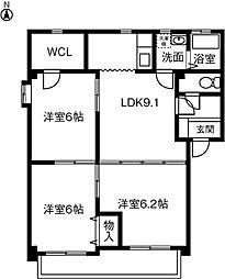 ガウディ六軒屋[202号室]の間取り