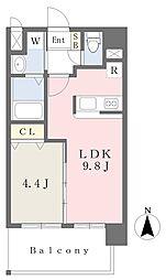 ランドマーク原 5階1LDKの間取り