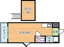 アップルハウス井堀[B206号室]の間取り