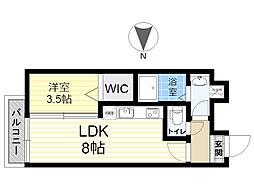 餅ヶ浜マンション(仮) 3階1LDKの間取り