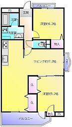 プロスベール高安[6階]の間取り