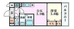 JR大阪環状線 福島駅 徒歩14分の賃貸マンション 3階1DKの間取り