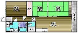 狭山レークハイツ2号館[6階]の間取り