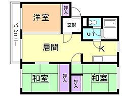 コーポオカムラ 1階3LDKの間取り