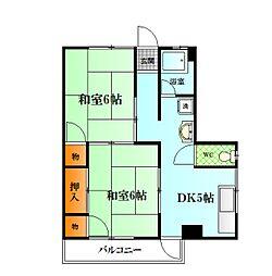 第20オレンジハウス清美[401号室]の間取り