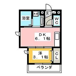 D-room kume 2階1DKの間取り