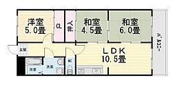 大阪府堺市西区上野芝町5丁の賃貸マンションの間取り