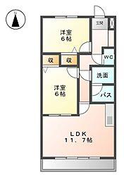 カサ・フェリス中柳[2階]の間取り
