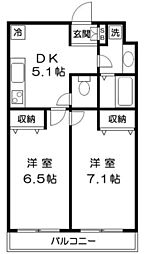 東京都足立区江北6丁目の賃貸マンションの間取り