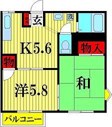 埼玉県越谷市大林の賃貸アパートの間取り
