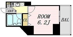 フレア新大阪 4階ワンルームの間取り