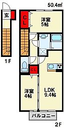 コスモ木屋瀬 A棟[2階]の間取り