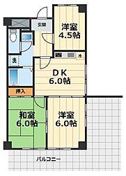 神奈川県大和市中央3丁目の賃貸マンションの間取り
