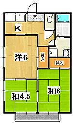 東金沢ハイツB[102号室]の間取り