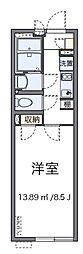 JR中央線 八王子駅 徒歩23分の賃貸マンション 2階1Kの間取り