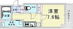 Osaka Metro谷町線 東梅田駅 徒歩5分の賃貸マンション 5階1Kの間取り