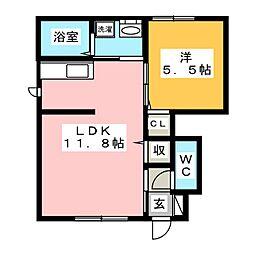ラ・パルテール平井 参番館[1階]の間取り