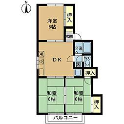 新潟県新潟市東区江南1の賃貸アパートの間取り