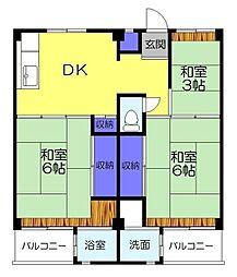 ビレッジハウス勝田4号棟[401号室]の間取り