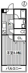 東京メトロ有楽町線 小竹向原駅 徒歩6分の賃貸アパート 2階1Kの間取り