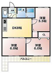 セザール第一西神戸[204号室]の間取り