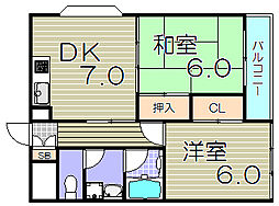 大阪府大阪市福島区吉野4丁目の賃貸マンションの間取り