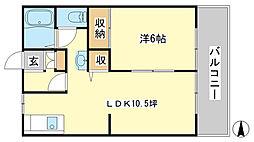 兵庫県姫路市東今宿6丁目の賃貸アパートの間取り