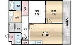 南海高野線 沢ノ町駅 徒歩8分の賃貸マンション 3階2LDKの間取り