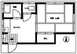 東京都武蔵村山市大南2丁目の賃貸アパートの間取り