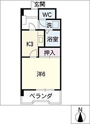 グリーンエクセル大坪[3階]の間取り