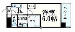 阪急神戸本線 六甲駅 徒歩10分の賃貸マンション 6階1Kの間取り