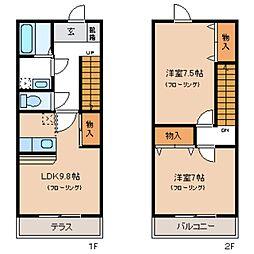 [テラスハウス] 東京都八王子市諏訪町 の賃貸【東京都 / 八王子市】の間取り