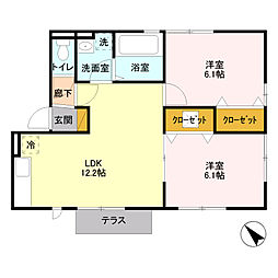 埼玉県さいたま市岩槻区大字岩槻の賃貸アパートの間取り