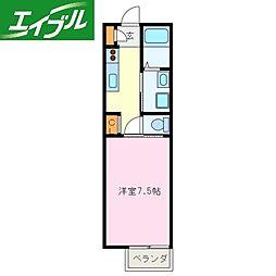 近鉄鳥羽線 宇治山田駅 徒歩14分の賃貸アパート 1階1Kの間取り