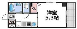 KARAHORI M 3階1Kの間取り