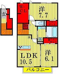 千葉県流山市駒木の賃貸アパートの間取り