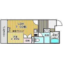 愛知県名古屋市中川区八熊通6丁目の賃貸マンション 1階1DKの間取り