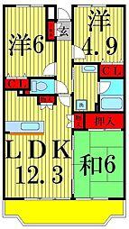 東京都足立区本木東町の賃貸マンションの間取り