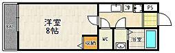 京都府京都市山科区御陵中内町の賃貸アパートの間取り