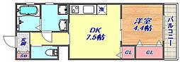Asosion甲南山手 3階1DKの間取り