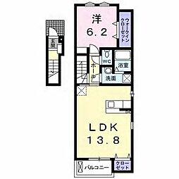 埼玉県越谷市レイクタウン5丁目の賃貸アパートの間取り